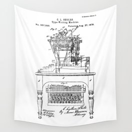 QWERTY Typewriter: Christopher Latham Sholes QWERTY Typewriter Patent Wall Tapestry