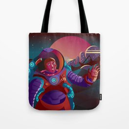 red suit astronaut on planet base Tote Bag