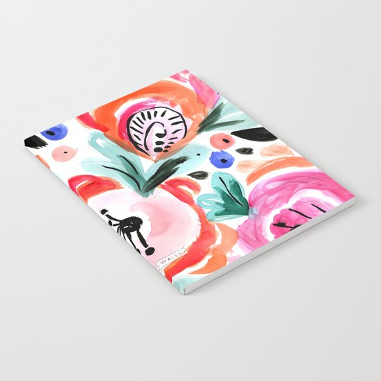 Tropical Sunrise Morning Glory Boho Watercolor Floral Notebook