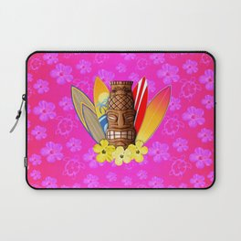 Surfboards And Tiki Mask Pink Flowers Laptop Sleeve