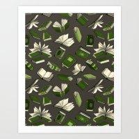 Spellbooks, green Art Print
