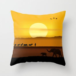 Morning in the African savannah Throw Pillow