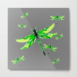 EMERALD GREEN  SWAMP DRAGONFLIES GREY ART Metal Print