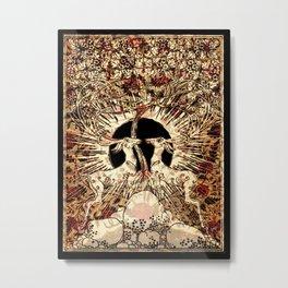 Art Nouveau White Stags Metal Print