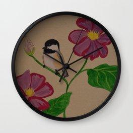 Chickadee & Flowers Wall Clock