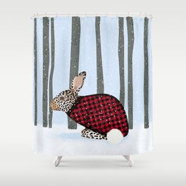 Rabbit Wintery Holiday Design Shower Curtain