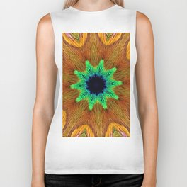 Eye of the Peacock Feather Gold Kaleidoscope Biker Tank