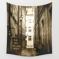 cafe Wall Tapestries featuring Stockholm Gamla Stan Cafe by JMcCool