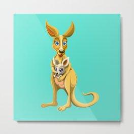 Cute kangaroo and baby cartoon Metal Print