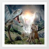 dinosaur Art Prints featuring Dinosaur by giftstore2u