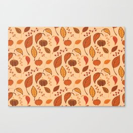 Leaves and pumpkins Canvas Print
