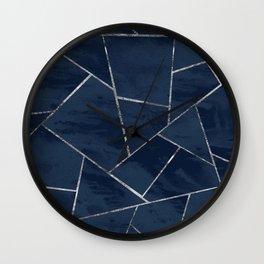 Midnight Navy Blue Ink Silver Geometric Glam #1 #geo #decor #art #society6 Wall Clock