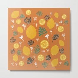 Frest Lemon on orange Summer On Metal Print