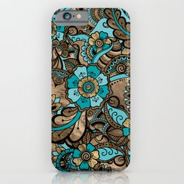 Floral Paisley Pattern - teal and golds iPhone Case