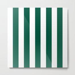 Castleton green - solid color - white vertical lines pattern Metal Print