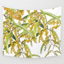 Australian Wattle Flower, Illustration Wall Tapestry