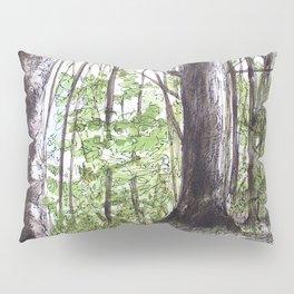 Woodland Trees in Vermont Illustration Nature Art Pillow Sham