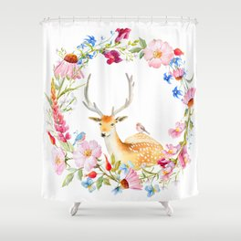 Deer in a floral wreath Shower Curtain