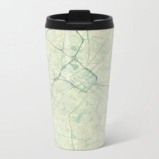 Charlotte Map Blue Vintage Metal Travel Mug