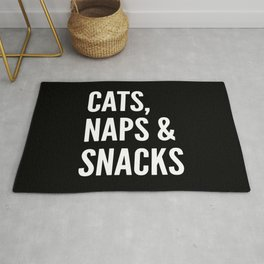 Cats, Naps & Snacks (Black) Rug