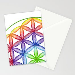 Rainbow Flower of Life - Rainbow Tribe Collection Stationery Cards
