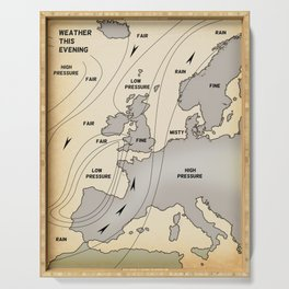 British Isles vintage weather map poster Serving Tray