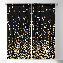 Floating Dots - White and Gold on Black Blackout Curtain