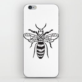 Linocut bee minimal nature insect printmaking black and white bees wasps iPhone Skin