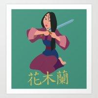 mulan Art Prints featuring Mulan by Angelus