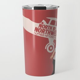 North by northwest, Alfred Hitchcock minimalist movie poster, thriller, Cary Grant, Eva Marie Saint Travel Mug