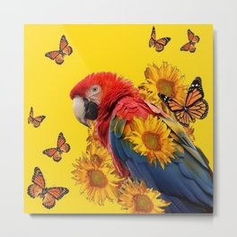 TROPICAL BLUE MACAW & MONARCH BUTTERFLIES SUNFLOWER ART Metal Print