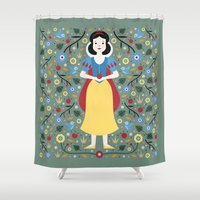 snow white Shower Curtains featuring Snow White  by Carly Watts