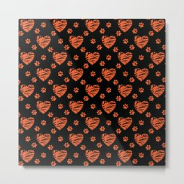 Orange with black splotches hearts and cat's paw prints . Metal Print