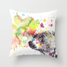 Portrait Of a Grizzly Brown Bear Throw Pillow