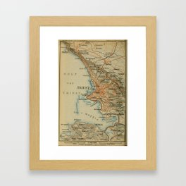 Vintage Trieste Italy Map (1911) Framed Art Print