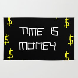 time is money,black,dollar,regular,psychedelic, fun,irony,gold,yellow,nervous breakdown Rug