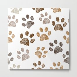 Brown colored paw print background Metal Print