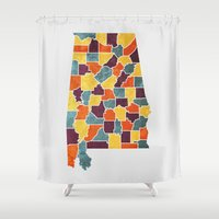 alabama Shower Curtains featuring Alabama colour region map by MCartography