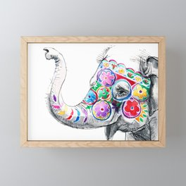 Festival Baby Elephant - Ink Drawing Framed Mini Art Print