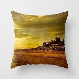 Golden Bamburgh Morning Throw Pillow