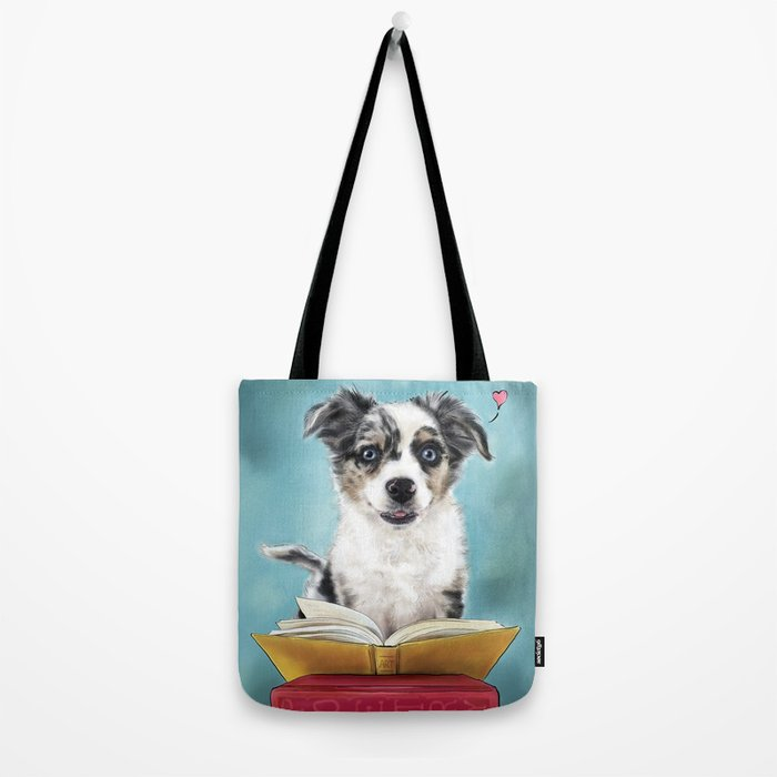 Puppy Book Lover Tote Bag
