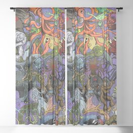 Cryptid Creatures and Mysterious Monsters Sheer Curtain