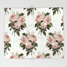 Three English Roses Throw Blanket