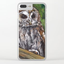 Tawny Owl, Oil Pastel Painting, Wildlife Clear iPhone Case