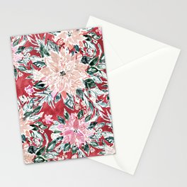 LUSH POINSETTIA Red Lush Holiday Floral Stationery Cards