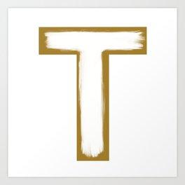 Minimalist Gold T White Stroke Art Print