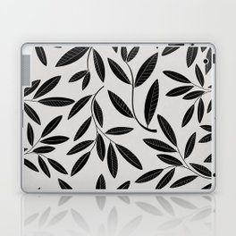 Black and White Plant Leaves Pattern Laptop & iPad Skin