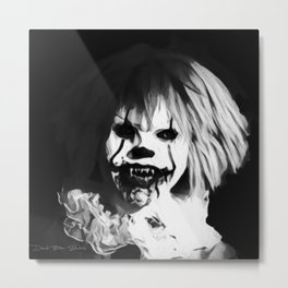 Bad Hair Day -  Black and White Metal Print