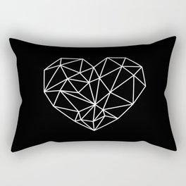 Black and White Geometric Heart Rectangular Pillow