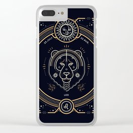 Leo Zociac Golden and White on Black Background Clear iPhone Case
